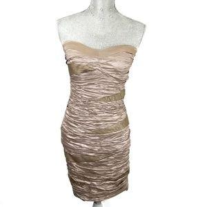 Arden B sand strapless ruched dress